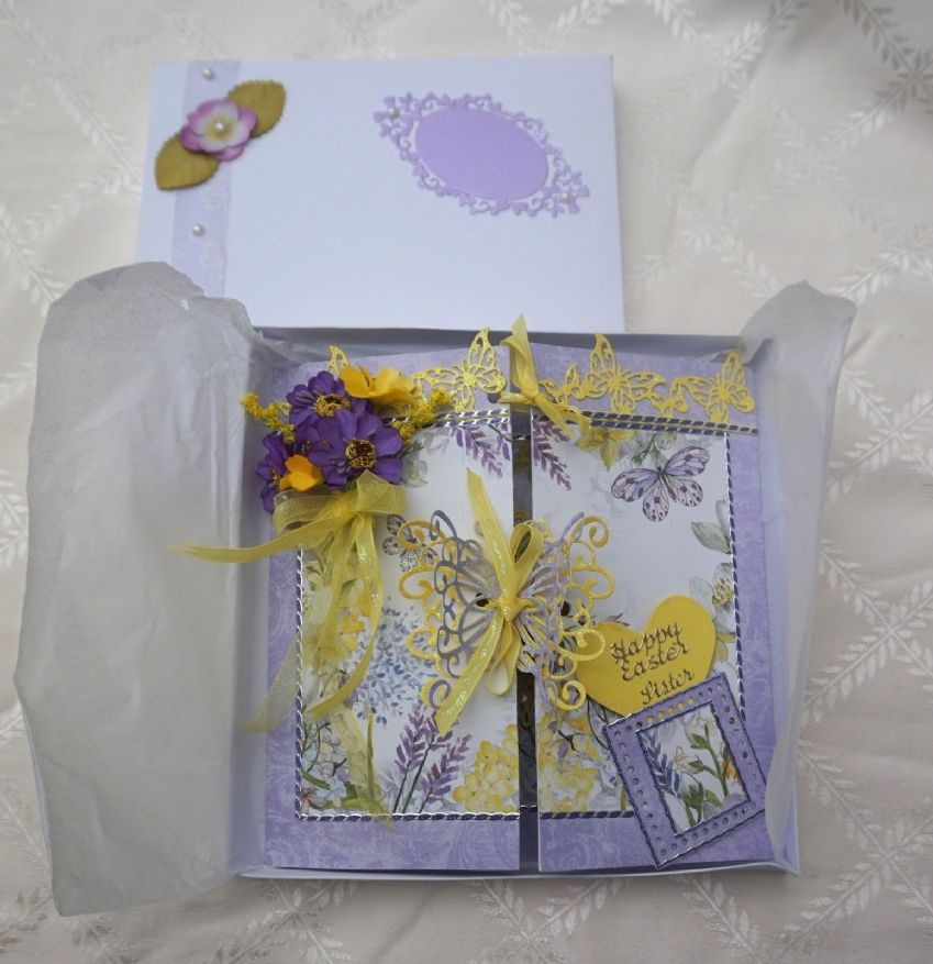 Hand Made Keepsake Easter Card with Lindt Chocolate Bunnies Stunning Boxed Card